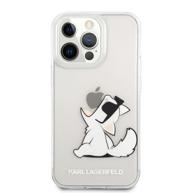 Zadní kryt Karl Lagerfeld PC/TPU Choupette Eat KLHCP13LCFNRC pro Apple iPhone 13 Pro, transparentní