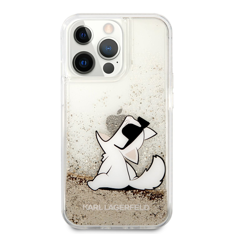 Zadní kryt Karl Lagerfeld Liquid Glitter Choupette Eat KLHCP13LGCFD pro Apple iPhone 13 Pro, zlatá