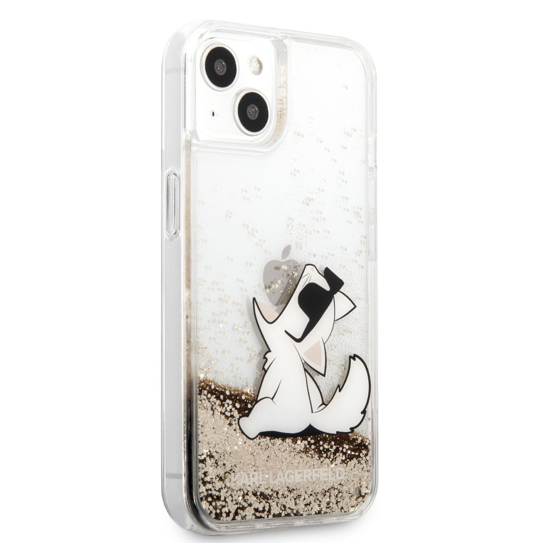 Zadní kryt Karl Lagerfeld Liquid Glitter Choupette Eat KLHCP13MGCFD pro Apple iPhone 13, zlatá
