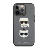 Zadní kryt Karl Lagerfeld PU Saffiano Karl and Choupette Heads KLHCP13XSAKICKCSL pro Apple iPhone 13 Pro Max, stříbná