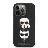 Zadní kryt Karl Lagerfeld PU Saffiano Karl and Choupette Heads KLHCP13XSAKICKCBK pro Apple iPhone 13 Pro Max, černá