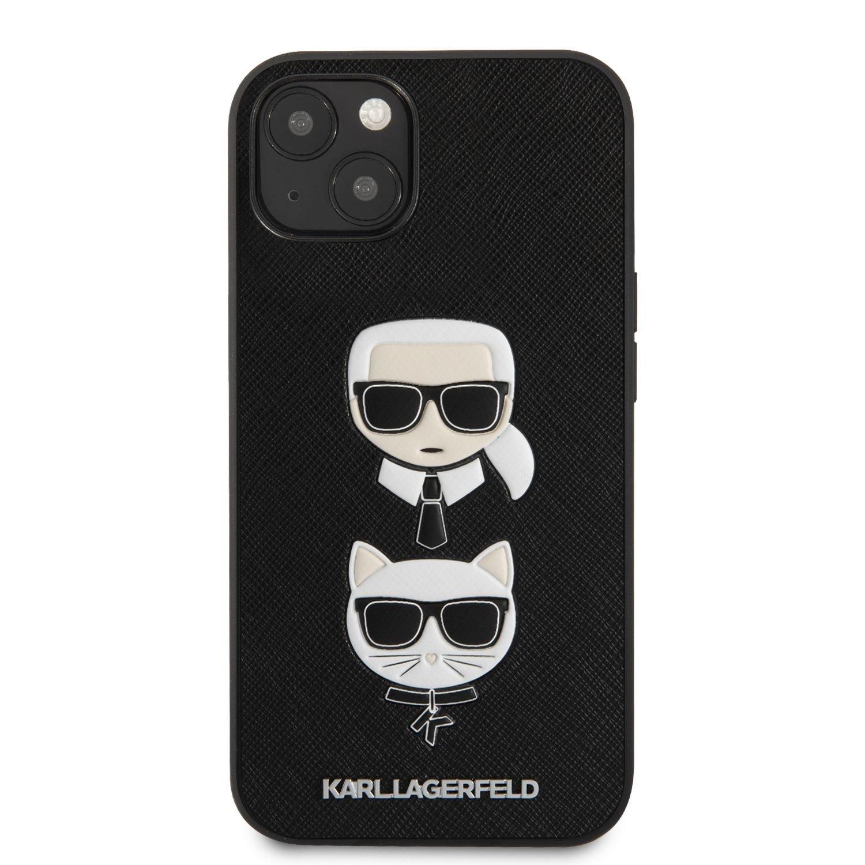 Zadní kryt Karl Lagerfeld PU Saffiano Karl and Choupette Heads KLHCP13MSAKICKCBK pro Apple iPhone 13, černá