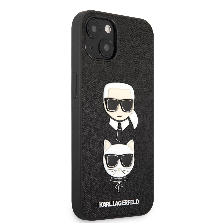 Zadní kryt Karl Lagerfeld PU Saffiano Karl and Choupette Heads KLHCP13SSAKICKCBK pro Apple iPhone 13 mini, černá