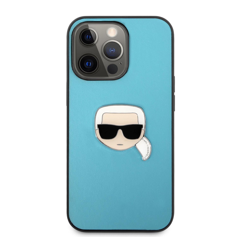Zadní kryt KLHCP13XPKMB Karl Lagerfeld PU Leather Karl Head Kryt pro iPhone 13 Pro Max, modrá