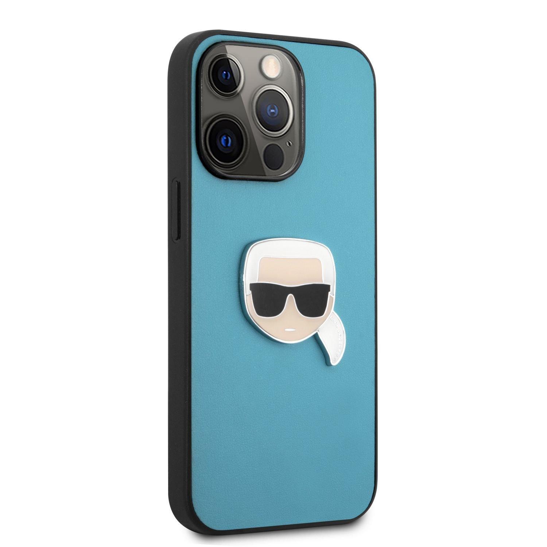 Zadní kryt Karl Lagerfeld PU Leather Karl Head KLHCP13LPKMB pro Apple iPhone 13 Pro, modrá