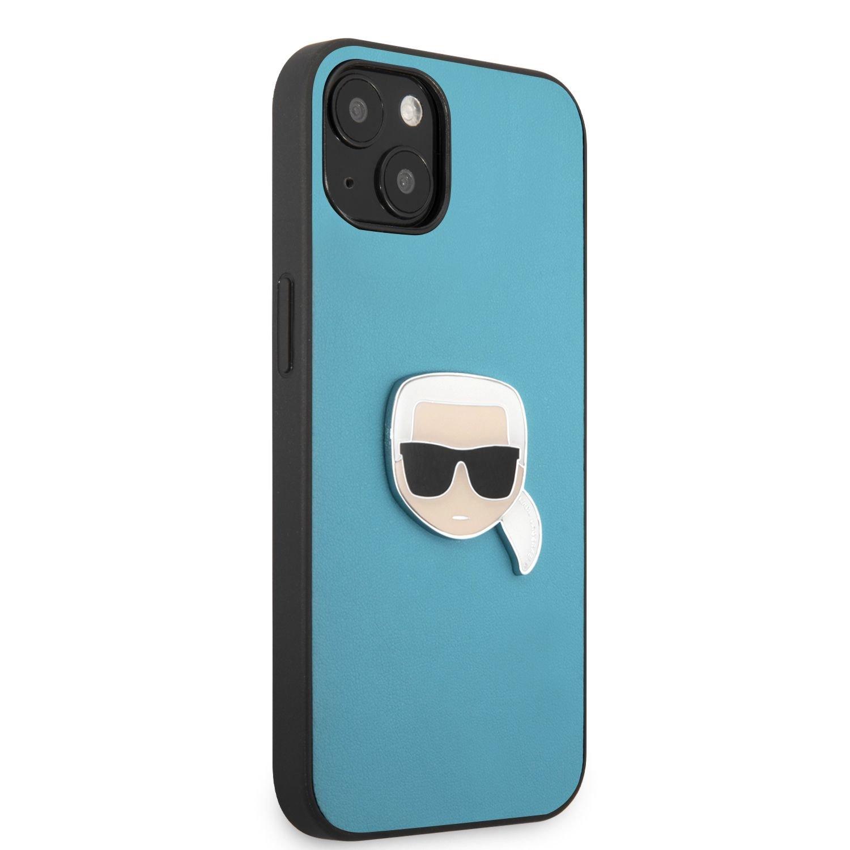 Zadní kryt Karl Lagerfeld PU Leather Karl Head KLHCP13SPKMB pro Apple iPhone 13 mini, modrá