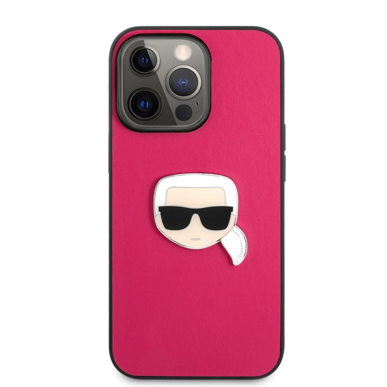Zadní kryt Karl Lagerfeld PU Leather Karl Head KLHCP13LPKMP pro Apple iPhone 13 Pro, růžová