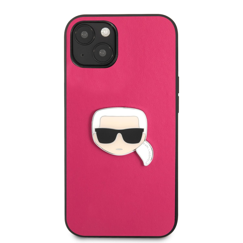 Zadní kryt Karl Lagerfeld PU Leather Karl Head KLHCP13MPKMP pro Apple iPhone 13, růžová
