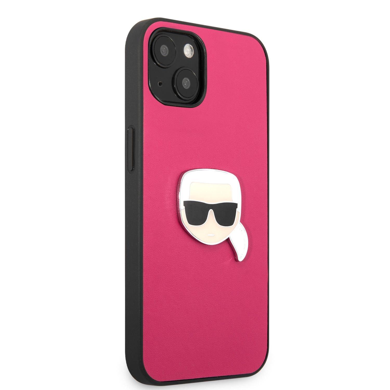 Zadní kryt Karl Lagerfeld PU Leather Karl Head KLHCP13SPKMP pro Apple iPhone 13 mini, růžová