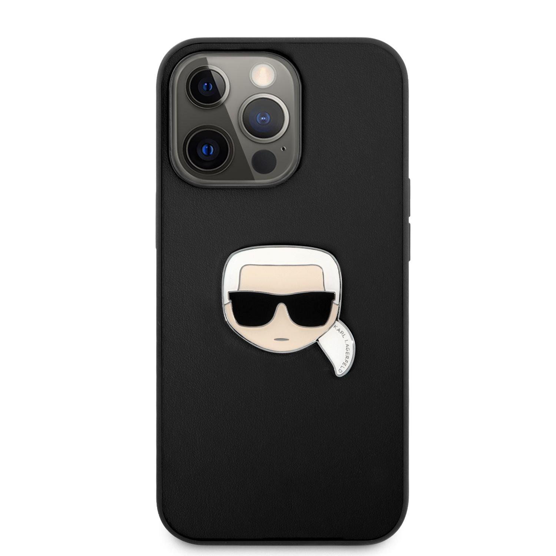 Zadní kryt Karl Lagerfeld PU Leather Karl Head KLHCP13XPKMK pro Apple iPhone 13 Pro Max, černá
