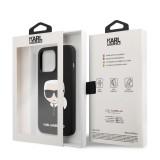 Zadní kryt Karl Lagerfeld Liquid Silicone Karl Head KLHCP13XSLKHBK pro Apple iPhone 13 Pro Max, černá
