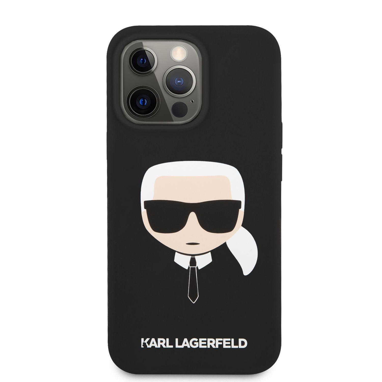 Zadní kryt Karl Lagerfeld Liquid Silicone Karl Head KLHCP13MSLKHBK pro Apple iPhone 13, černá