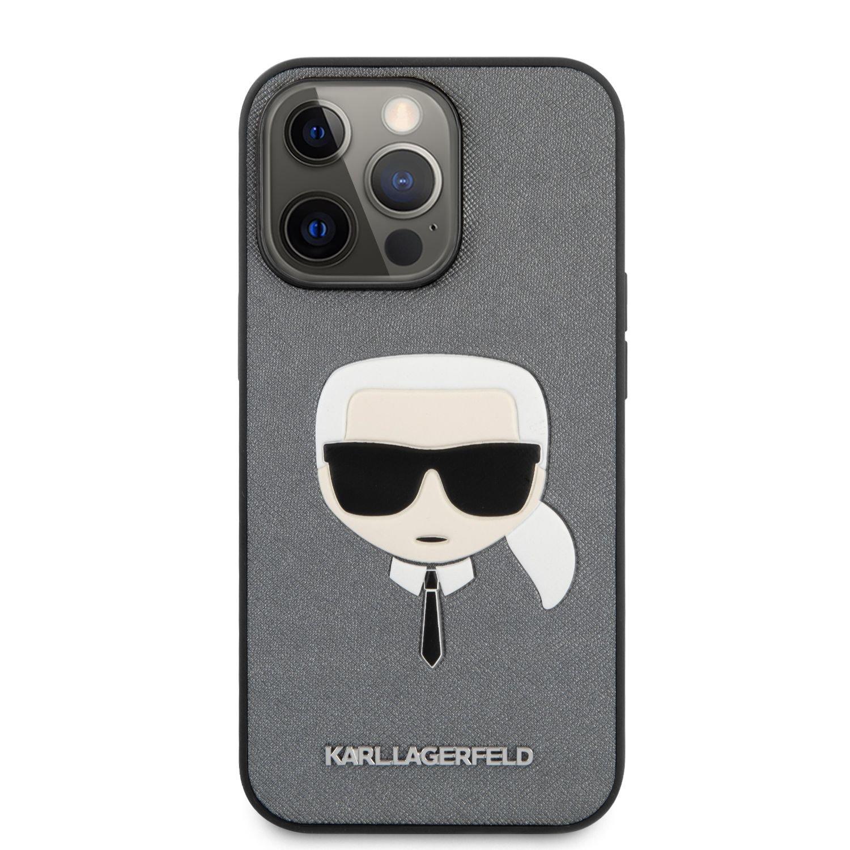 Zadní kryt Karl Lagerfeld PU Saffiano Karl Head KLHCP13XSAKHSL pro Apple iPhone 13 Pro Max, stříbrná