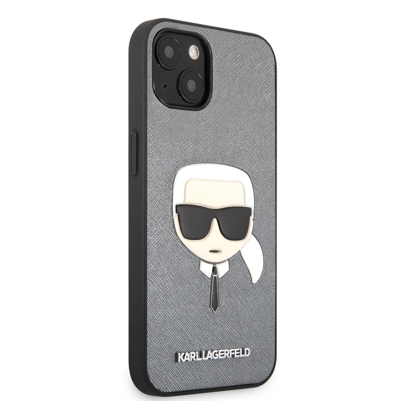 Zadní kryt Karl Lagerfeld PU Saffiano Karl Head KLHCP13MSAKHSL pro Apple iPhone 13, stříbrná
