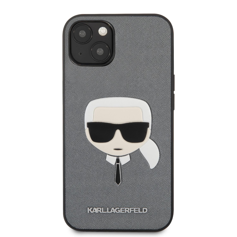 Zadní kryt Karl Lagerfeld PU Saffiano Karl Head KLHCP13SSAKHSL pro Apple iPhone 13 mini, stříbrná