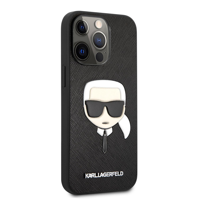 Zadní kryt Karl Lagerfeld PU Saffiano Karl Head KLHCP13XSAKHBK pro Apple iPhone 13 Pro Max, černá
