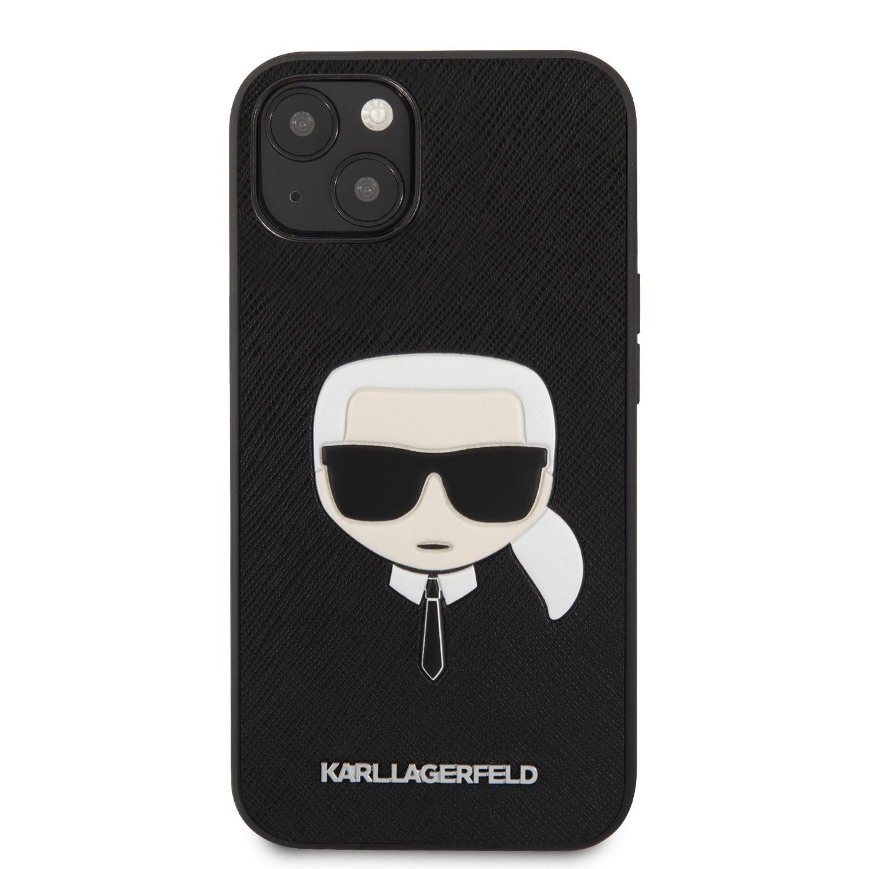 Zadní kryt Karl Lagerfeld PU Saffiano Karl Head KLHCP13MSAKHBK pro Apple iPhone 13, černá