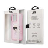 Zadní kryt Karl Lagerfeld TPU Full Glitter Karl Head KLHCP13XKHTUGLP pro Apple iPhone 13 Pro Max, růžová