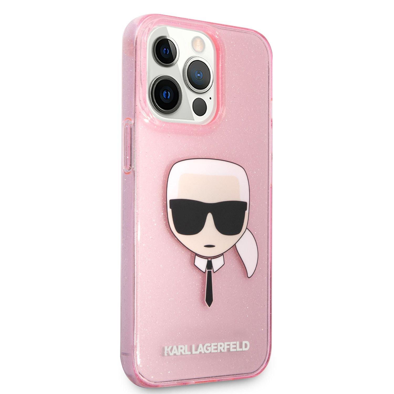 Zadní kryt Karl Lagerfeld TPU Full Glitter Karl Head KLHCP13LKHTUGLP pro Apple iPhone 13 Pro, růžová