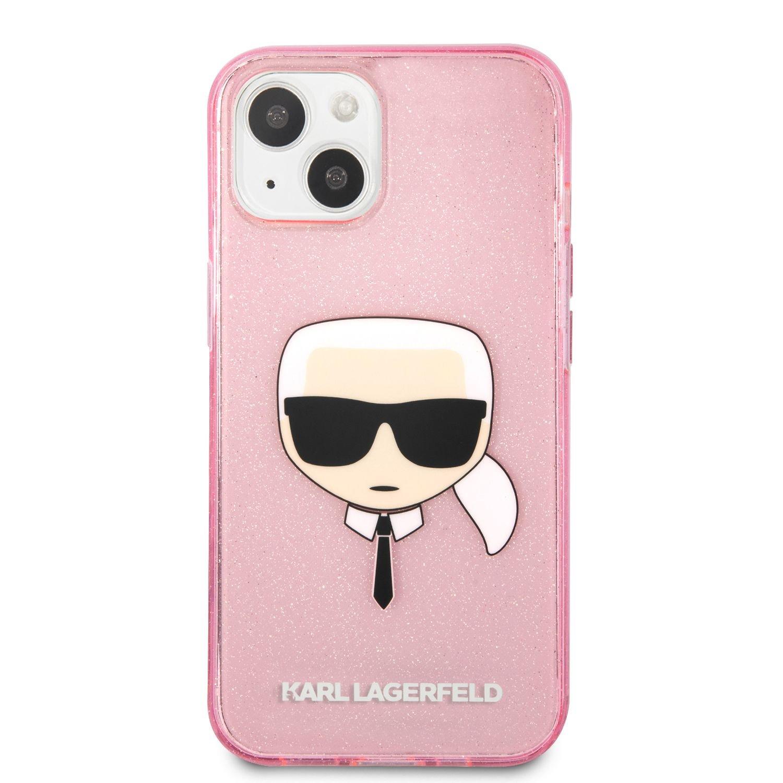Zadní kryt Karl Lagerfeld TPU Full Glitter Karl Head KLHCP13MKHTUGLP pro Apple iPhone 13, růžová