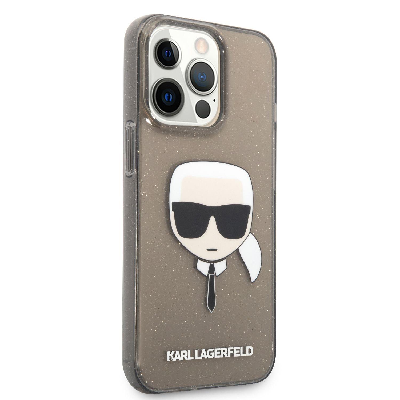 Zadní kyt Karl Lagerfeld TPU Full Glitter Karl Head KLHCP13LKHTUGLB pro Apple iPhone 13 Pro, černá