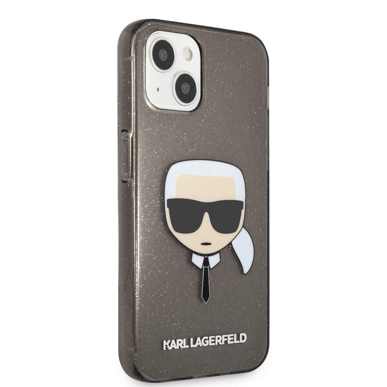 Zadní kryt Karl Lagerfeld TPU Full Glitter Karl Head KLHCP13SKHTUGLB pro Apple iPhone 13 mini, černá