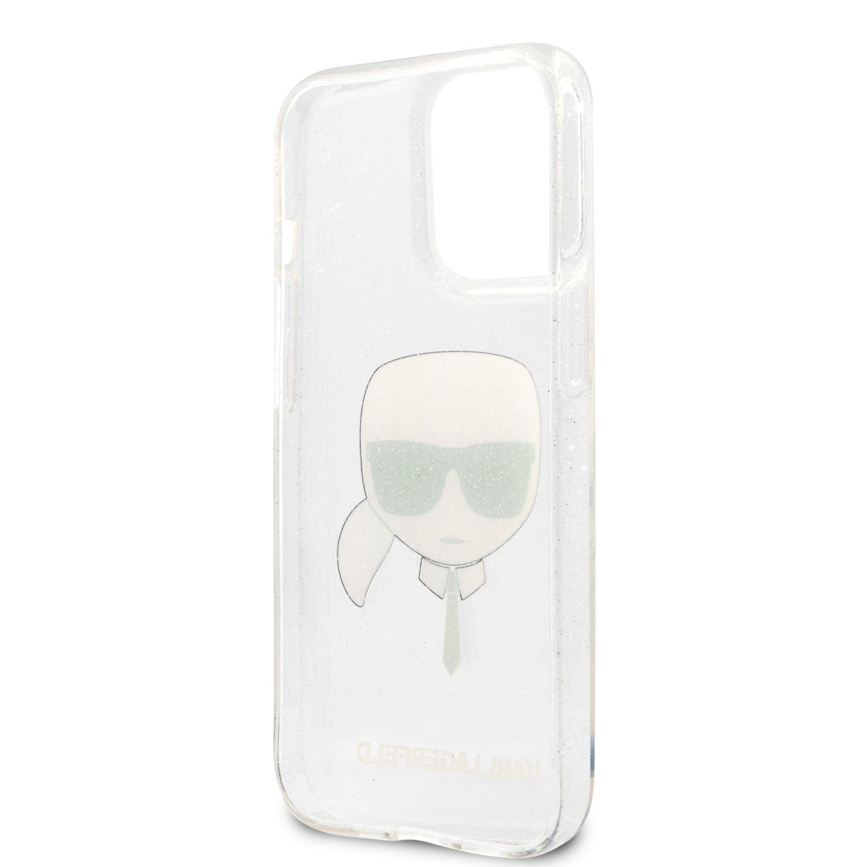 Zadní kryt Karl Lagerfeld TPU Full Glitter Karl Head KLHCP13XKHTUGLS pro Apple iPhone 13 Pro Max, stříbrná