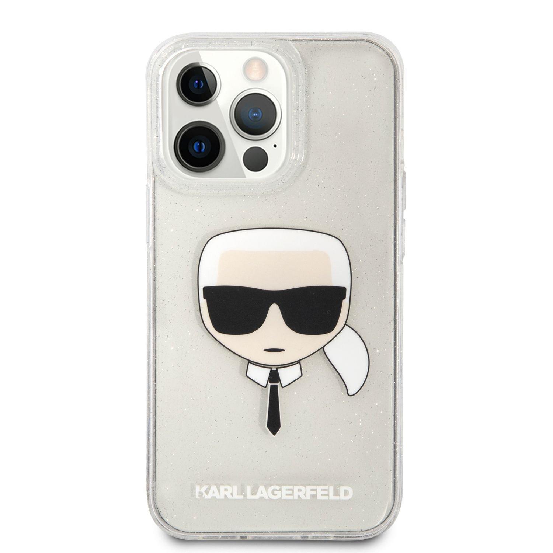 Zadní kryt Karl Lagerfeld TPU Full Glitter Karl Head KLHCP13SKHTUGLS pro Apple iPhone 13 mini, stříbrná