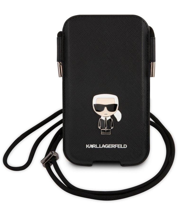 Stylová kapsa Karl Lagerfeld Saffiano Metal Logo PU Pouch LKLHCP12LOPHKMK, černá