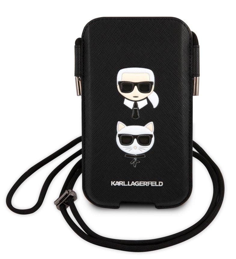 Stylová kapsa Karl Lagerfeld Saffiano Metal Logo PU Pouch S/M KLHCP12MOPHKMK, černá