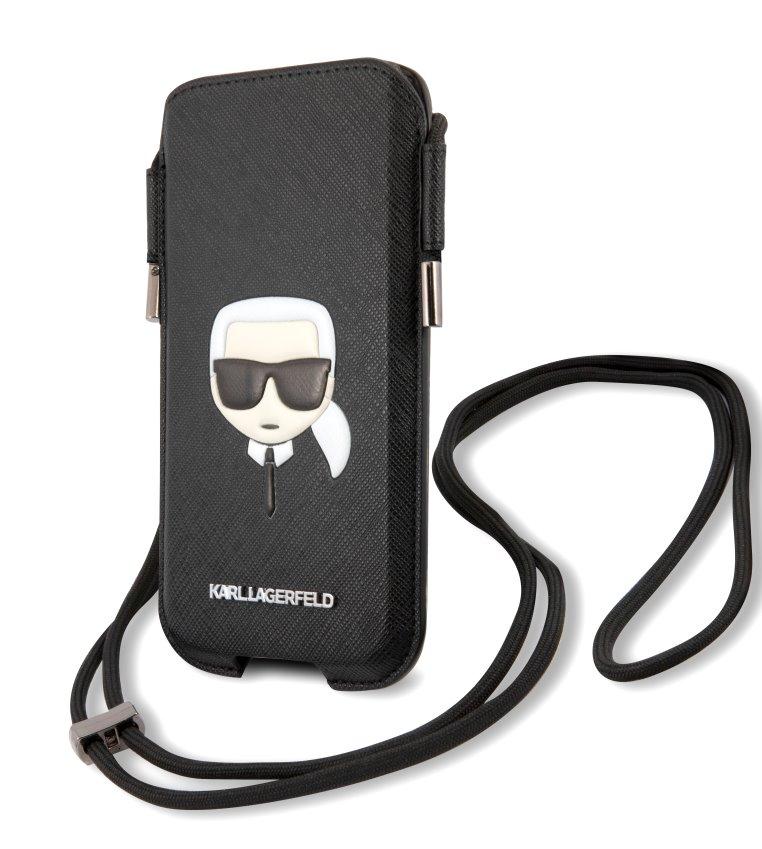 Stylová kapsa Karl Lagerfeld and Choupette Head Saffiano PU Pouch S/M KLHCP12MOPHKCK, černá