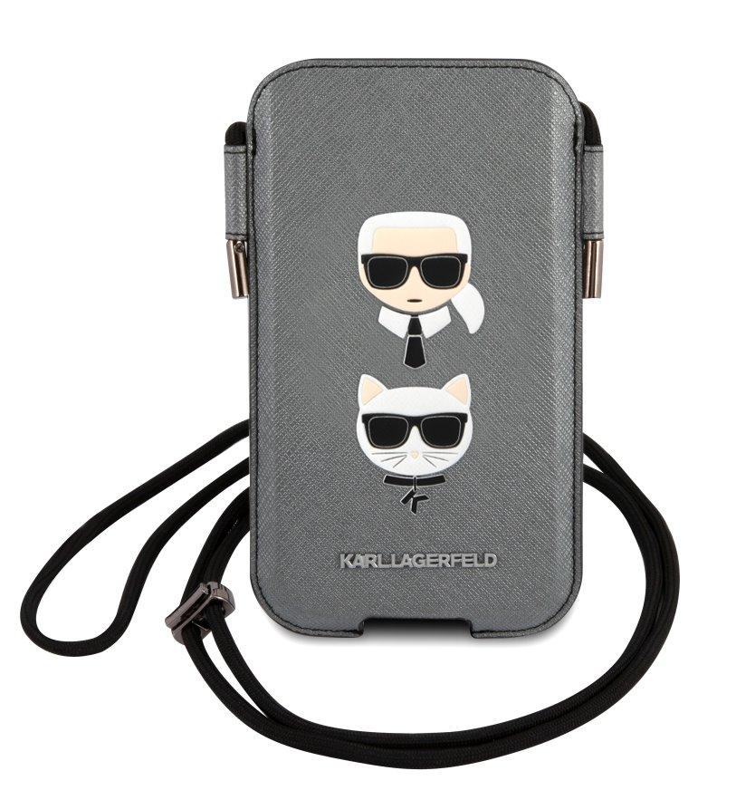 Stylová kapsa Karl Lagerfeld and Choupette Head Saffiano PU Pouch S/M KLHCP12MOPHKCG, šedá