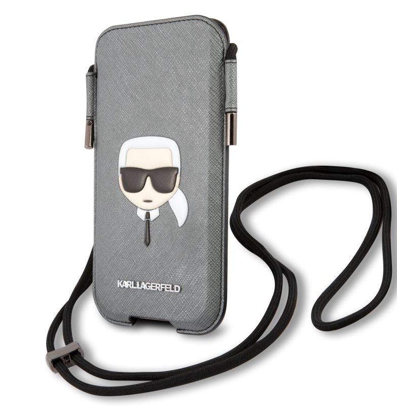 Stylová kapsa Karl Lagerfeld Head Saffiano PU Pouch S/M KLHCP12MOPHKHG, šedá
