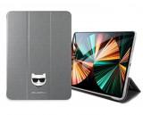Pouzdro na tablet Karl Lagerfeld Choupette Head Saffiano KLFC11OCHG pro Apple iPad Pro 11, stříbrná