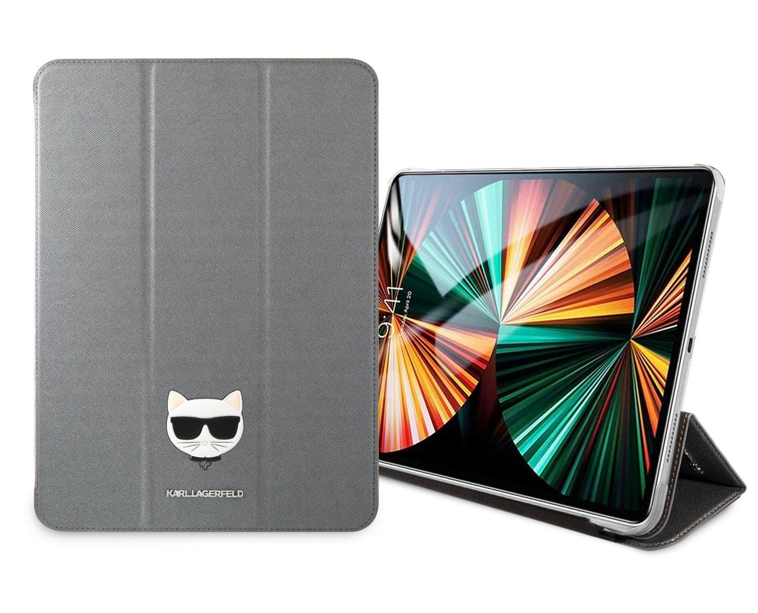 Pouzdro na tablet Karl Lagerfeld Head Saffiano KLFC12OKHG pro Apple iPad Pro 12.9, stříbrná