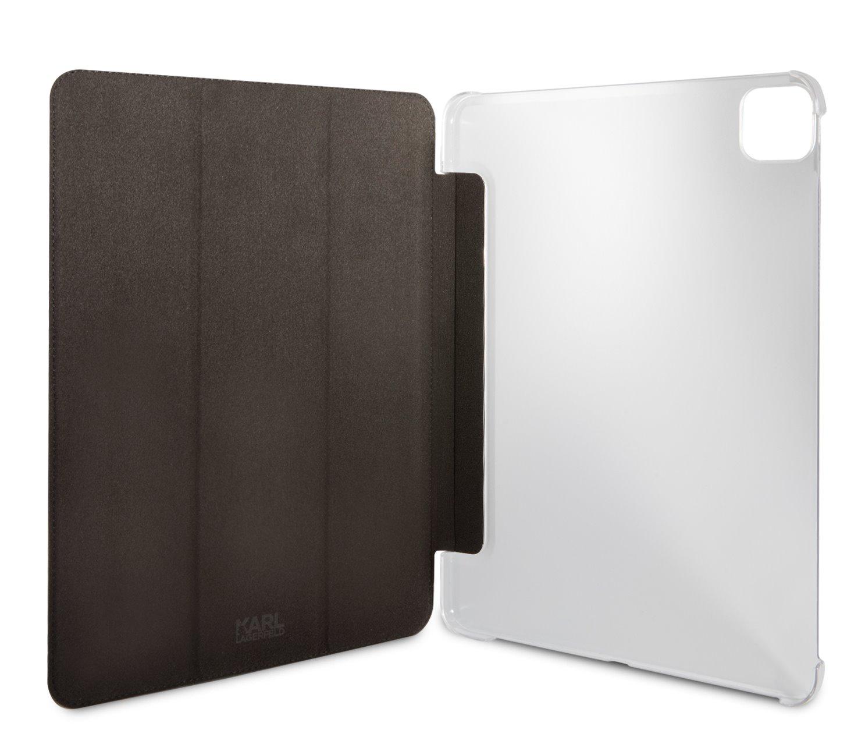 Pouzdro na tablet Karl Lagerfeld and Choupette Head Saffiano KLFC12OKCG pro iPad Pro 12.9, stříbrná