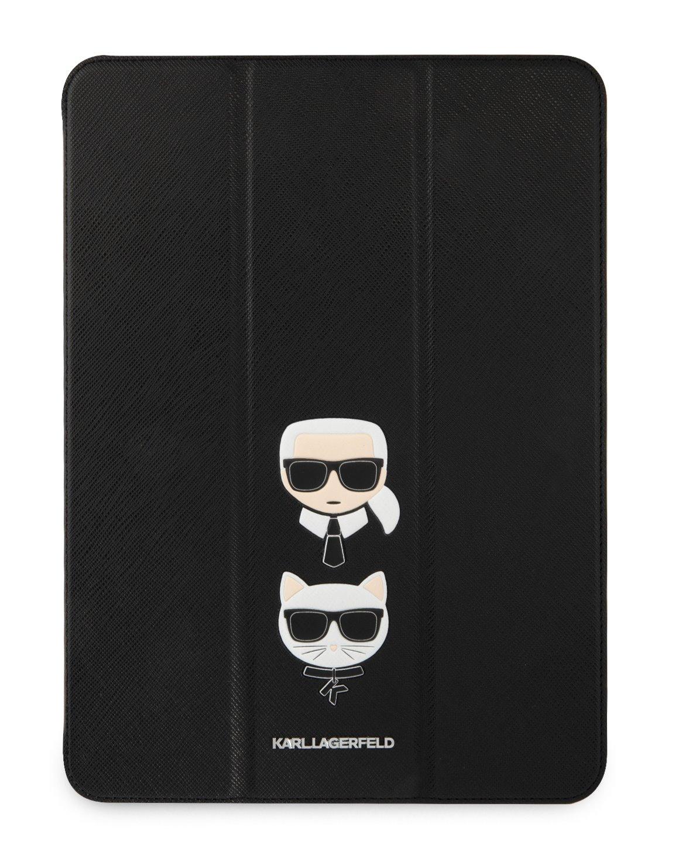 Pouzdro na tablet Karl Lagerfeld and Choupette Head Saffiano KLFC12OKCK pro Apple iPad Pro 12.9, černá