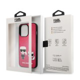 Pouzdro Karl Lagerfeld and Choupette PU Leather KLHCP13XPCUSKCP pro Apple iPhone 13 Pro Max, fuchsie
