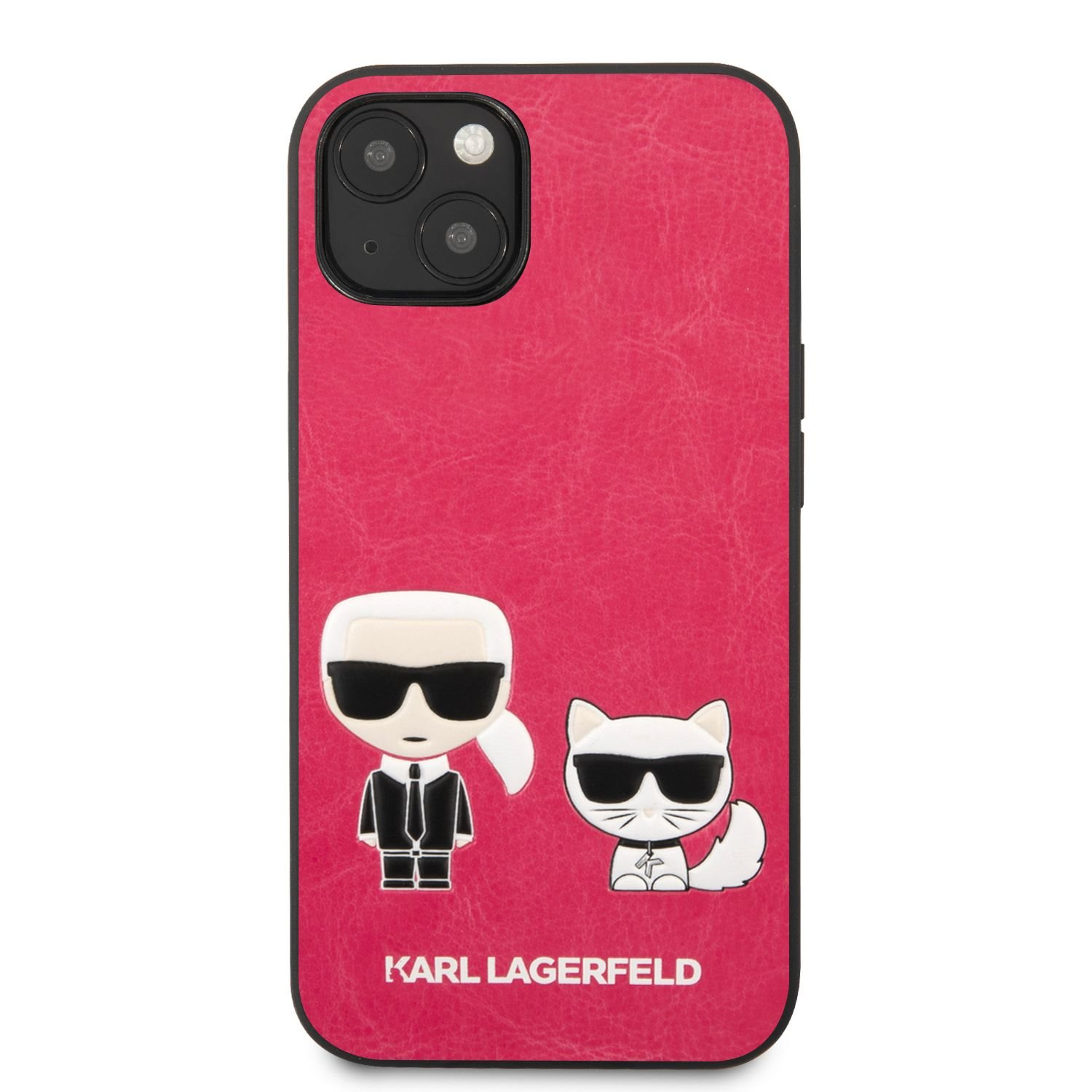 Pouzdro Karl Lagerfeld and Choupette PU Leather KLHCP13MPCUSKCP pro Apple iPhone 13, fuchsie