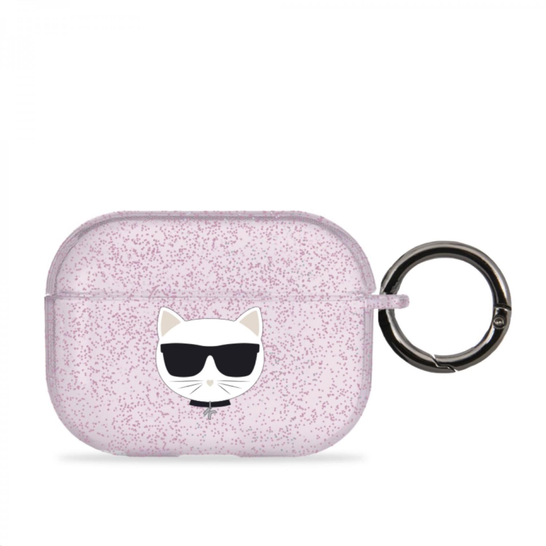 Silikonový kryt Karl Lagerfeld TPU Glitter Choupette Head KLAPUCHGP pro Airpods Pro, růžová