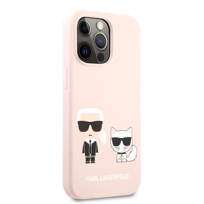 Silikonové pouzdro Karl Lagerfeld and Choupette Liquid KLHCP13XSSKCI pro Apple iPhone 13 Pro Max, růžová