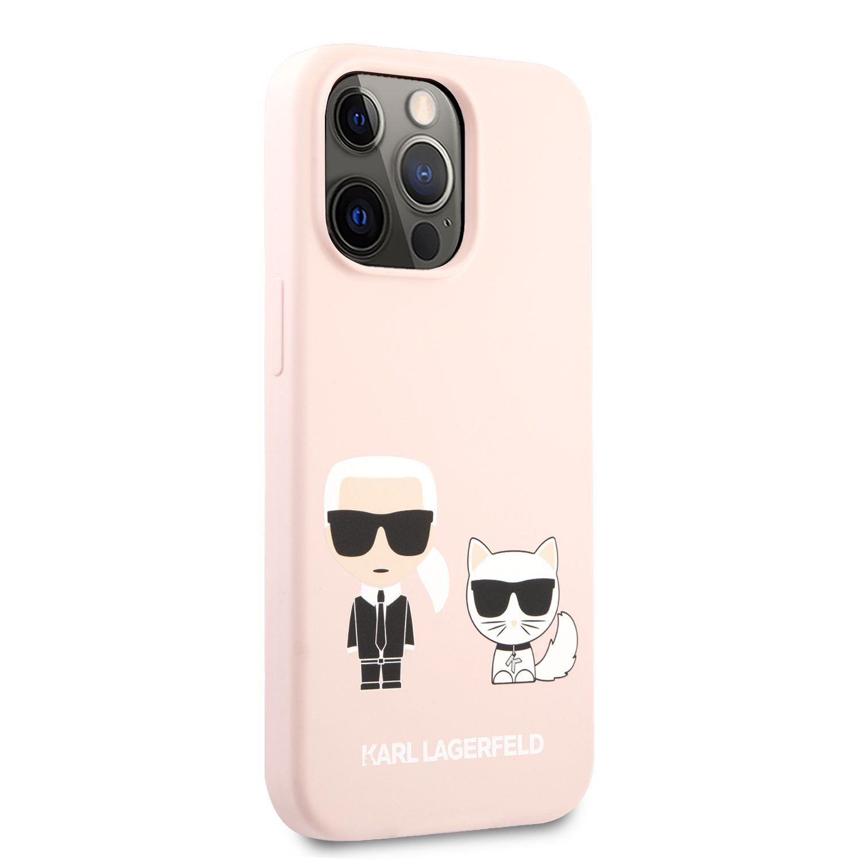 Silikonové pouzdro Karl Lagerfeld and Choupette Liquid KLHCP13MSSKCI pro Apple iPhone 13, růžová