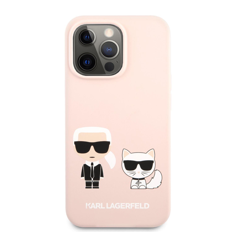 Silikonové pouzdro Karl Lagerfeld and Choupette Liquid Silicone pro Apple iPhone 13 mini, růžová