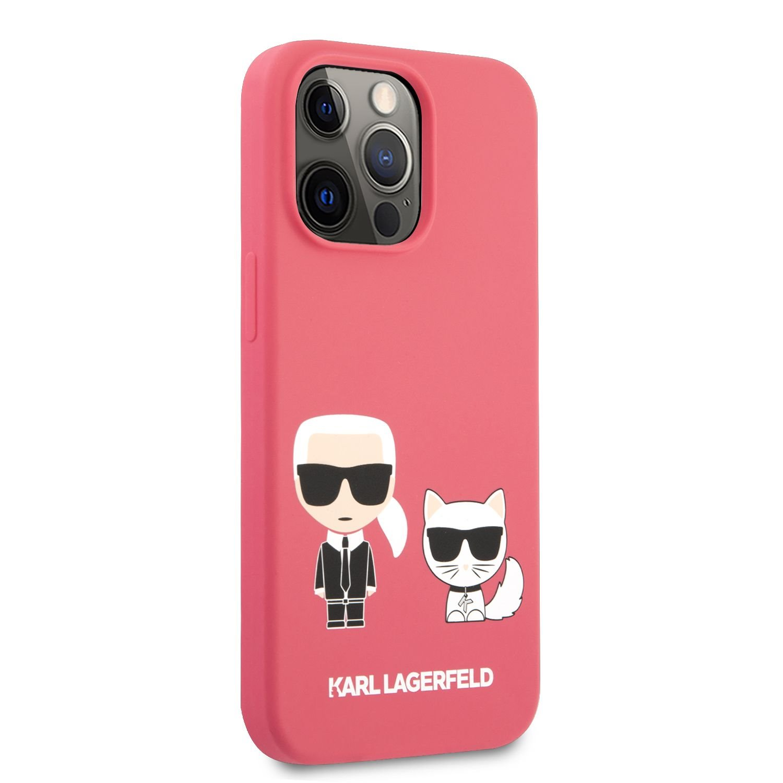 Silikonové pouzdro Karl Lagerfeld and Choupette Liquid KLHCP13XSSKCP pro Apple iPhone 13 Pro Max, červená