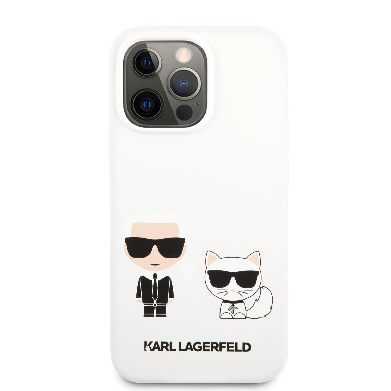 Silikonové pouzdro Karl Lagerfeld and Choupette Liquid KLHCP13XSSKCW pro Apple iPhone 13 Pro Max, bílá