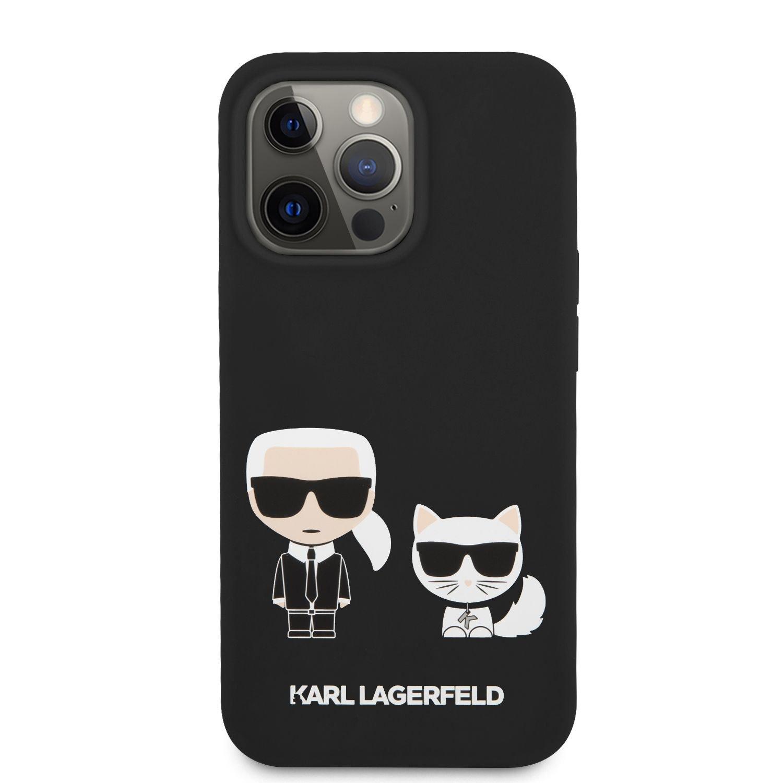 Silikonové pouzdro Karl Lagerfeld and Choupette Liquid KLHCP13XSSKCK pro Apple iPhone 13 Pro Max, černá