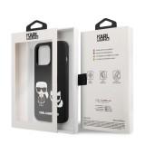 Silikonové pouzdro Karl Lagerfeld and Choupette Liquid KLHCP13LSSKCK pro Apple iPhone 13 Pro, černá