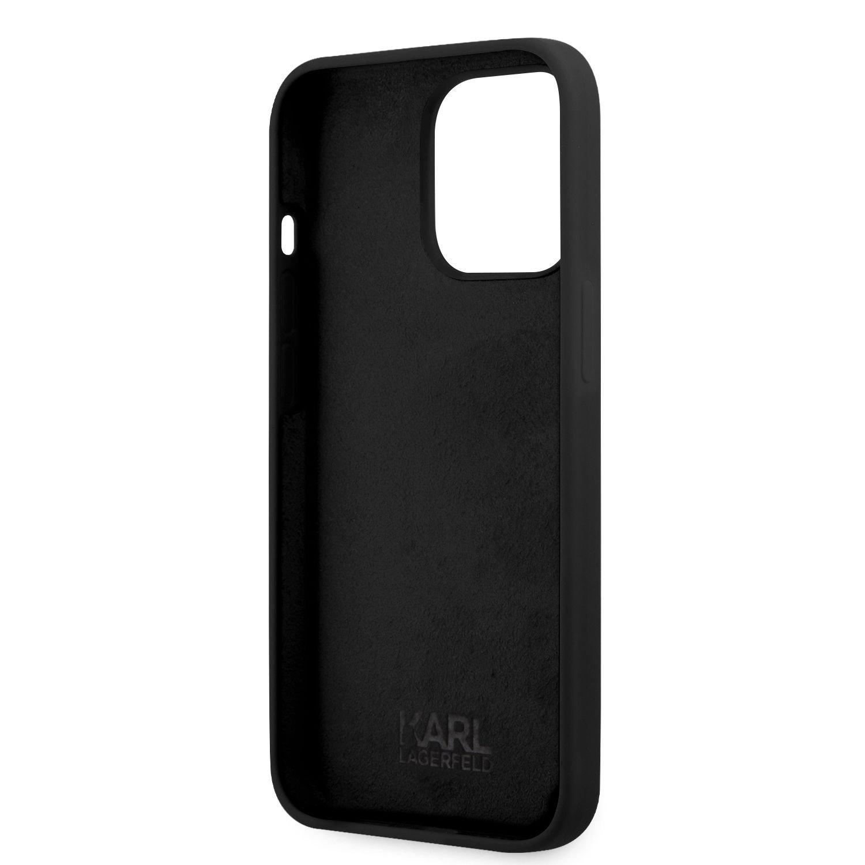 Silikonové pouzdro Karl Lagerfeld and Choupette Liquid KLHCP13MSSKCK pro Apple iPhone 13, černá