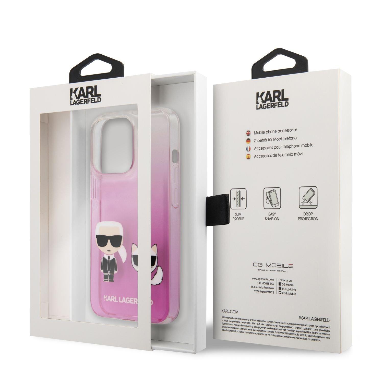 Zadní kryt Karl Lagerfeld PC/TPU Ikonik Karl and Choupette KLHCP13LCKTRP pro Apple iPhone 13 Pro, růžová
