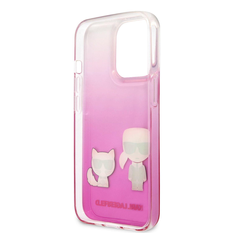 Zadní kryt Karl Lagerfeld PC/TPU Ikonik Karl and Choupette KLHCP13MCKTRP pro Apple iPhone 13, růžová